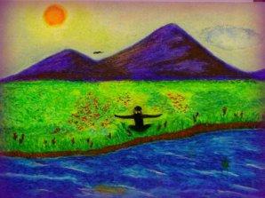 Zen in green and violet