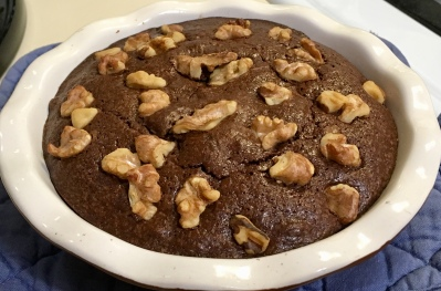 I couldn't let the evening go by without dessert. So I whipped up this brownie for two. Delish!