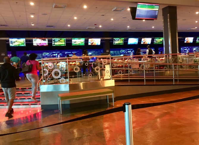 This is no ordinary movie theater! Bowling, pool, laser tag, games..we had trouble finding the theatre!
