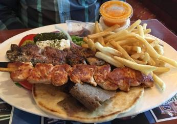 Tour of Greece platter. Kabob and gyro