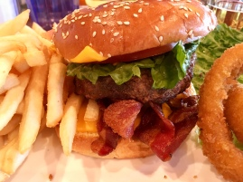 Old fashioned Bacon Cheeseburger. Comes with slaw, fries, onion rings. Oh and I had Corona!