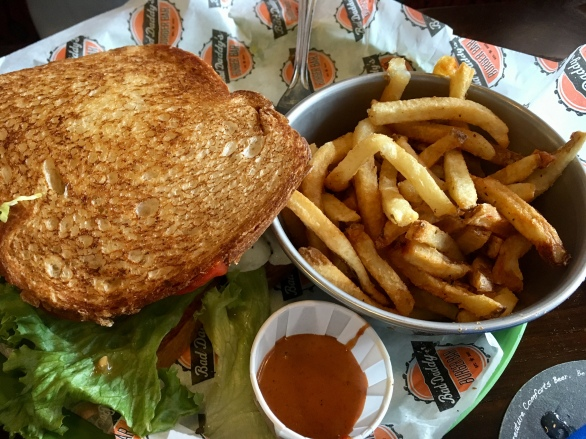 Hubby chose Texas toast for his burger. And hand cut fries. The best I've had in years.