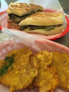 The Cuban sandwich and Tostones