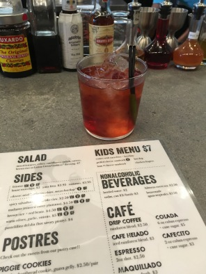 Alcohol offerings on the flip side. My drink was a Latin version Old Fashioned made with vermouth and bitters, camapari. Not too sweet!