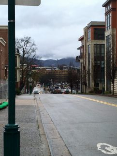 View downhill from the Bluff Art district